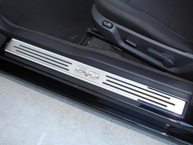 "2010-2014 Mustang - Door Sills Polished/Brushed ""5.0"" Slotted Carbon Fiber 2Pc Outer American Car Craft"