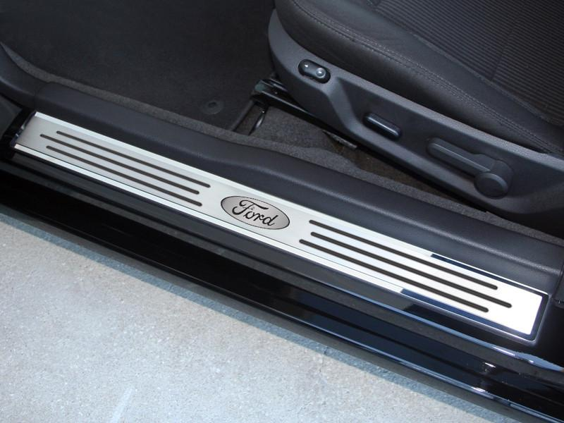 2010-2014 Mustang - Door Sills Polished/Brushed Ford Oval w/ Slotted Carbon Fiber 2Pc Outer American Car Craft