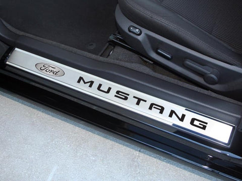 "2010-2014 Mustang - Door Sills Polished/Brushed Ford Oval with ""MUSTANG"" Carbon Fiber Inlay 2Pc Outer"