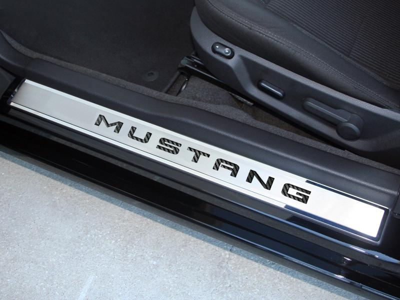"2010-2014 Mustang - Door Sills Polished/Brushed with Carbon Fiber ""MUSTANG"" Inlay 2Pc Outer American Car Craft"