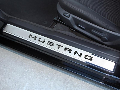"2010-2014 Mustang - Door Sills Polished/Brushed with Carbon Fiber ""MUSTANG"" Inlay 2Pc Outer"