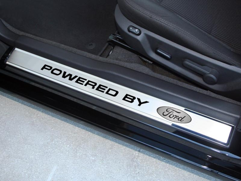 "2010-2014 Mustang - Outer Door Sills Polished/Brushed ""Powered By Ford"" 2Pc American Car Craft"