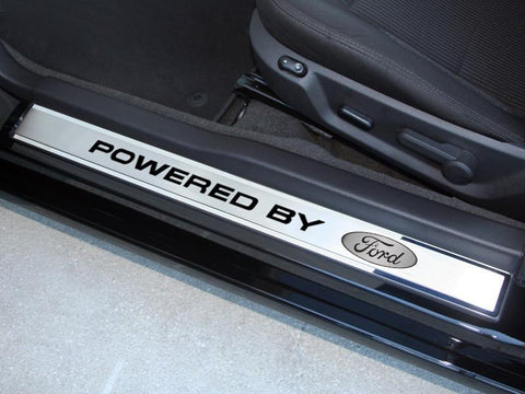 "2010-2014 Mustang - Outer Door Sills Polished/Brushed ""Powered By Ford"" 2Pc"