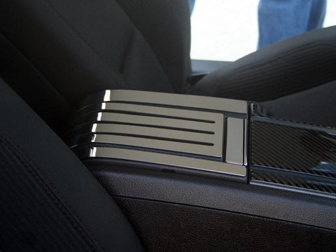 2010-2014 Mustang - Rear Center Console Cover Slotted/Carbon Fiber | Polished Stainless Steel