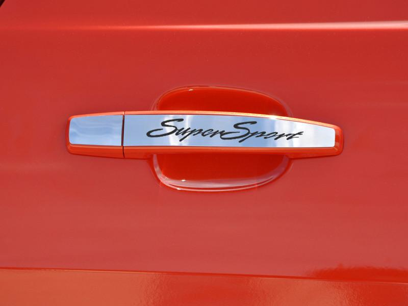 "2010-2015 Camaro Door - Handle Plate Polished Exterior ""Super Sport"" Laser Etched 2Pc American Car Craft"