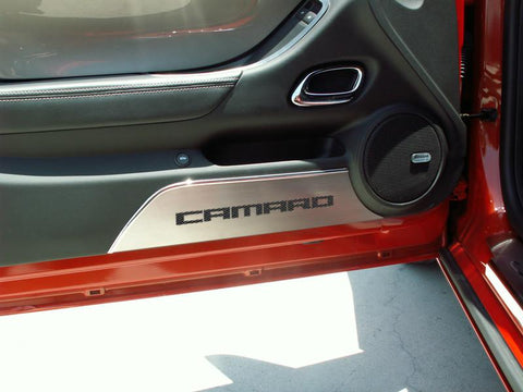 2010-2015 Camaro -Door Panel Kick Plates 'CAMARO' 2Pc | Brushed Stainless, Choose Inlay Color