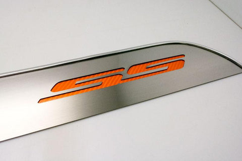 "2010-2015 Camaro - Door Panel Kick Plates Brushed ""SS"" Lettering 2Pc American Car Craft"