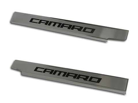 "2010-2015 Camaro - Doorsills Executive Series Brushed/Polished with Carbon Fiber ""Camaro"" Inlay 2Pc American Car Craft"