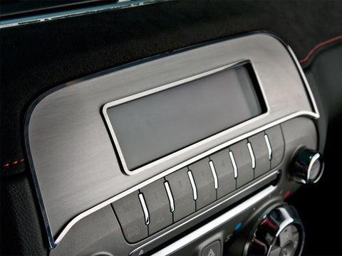 2010-2015 Camaro - Factory Radio Trim Plate | Brushed Stainless Steel with Polished Bezel