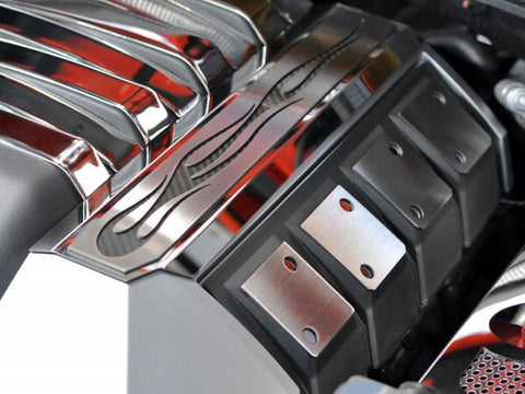"2010-2015 Camaro Fuel Rail Covers Polished ""True Flame"" American Car Craft"