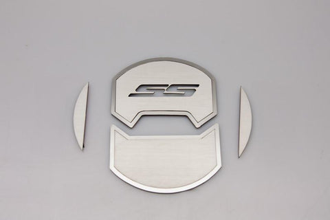 2010-2015 Camaro - Round A/C Vent Duct Covers Deluxe 'SS' 8Pc | Brushed Stainless, Choose Inlay Color