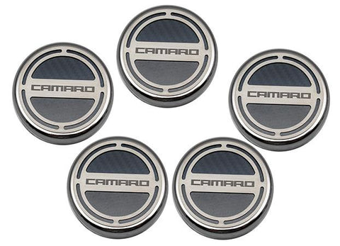 "2010-2015 Camaro V6/V8 - Cap Cover Set Carbon Fiber ""Camaro"" Series Automatic 5pc Carbon Fiber CHOOSE COLOR American Car Craft"