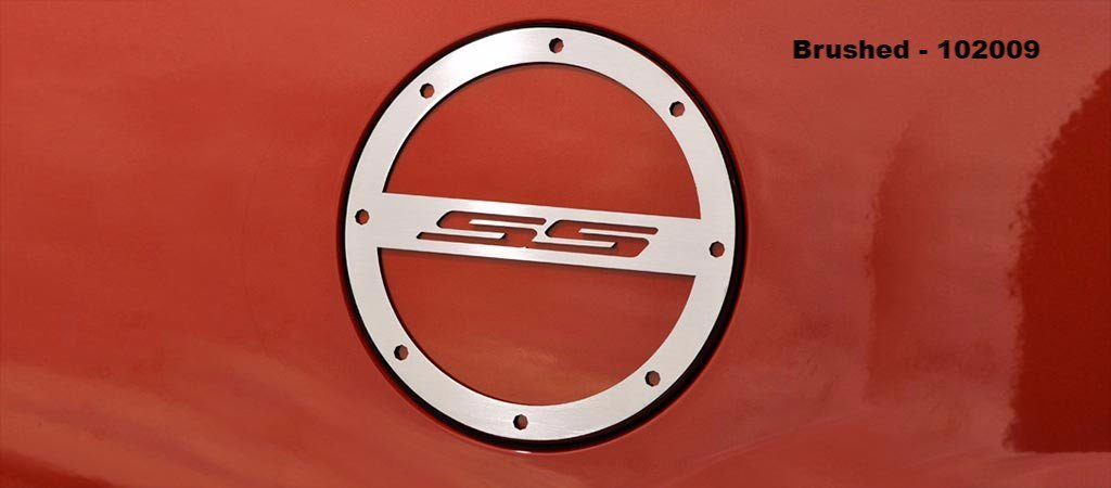 "2010-2018 Camaro Brushed Gas Cap Cover ""SS"" Lettering American Car Craft"
