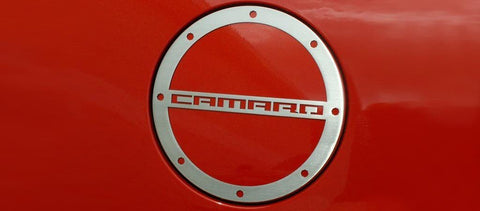 2010-2018 Camaro- Gas Cap Cover 'CAMARO' Style | Stainless Steel, Choose Finish
