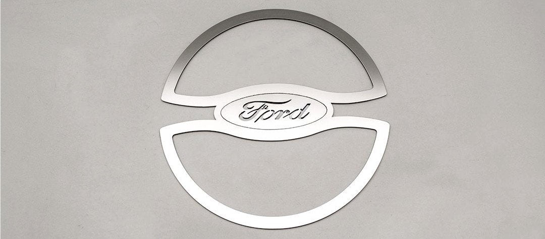2011-2012 Mustang - Stainless Steel Fuel Door Trim with Ford Oval American Car Craft