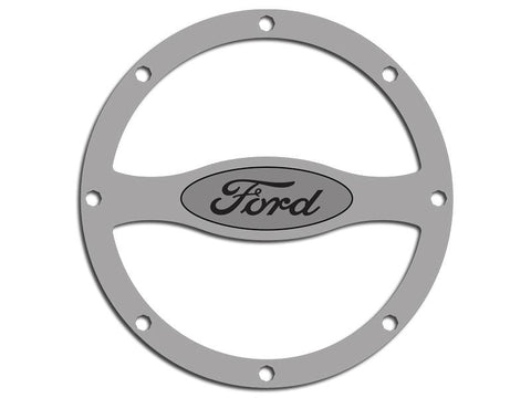 2011-2012 Mustang - Stainless Steel Rivet Style Fuel Door Trim With Ford Oval American Car Craft