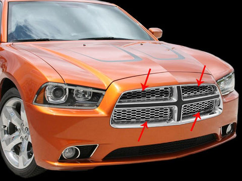2011-2013 Dodge Charger - Upper Front Grille Overlays 4Pc | Polished Stainless Steel