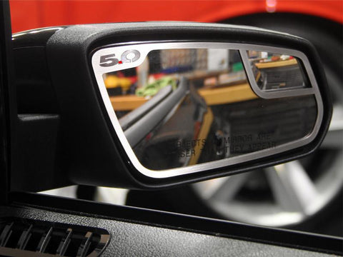 2011-2013 Mustang Mirror Trim 5.0 Side View 2Pc Brushed American Car Craft