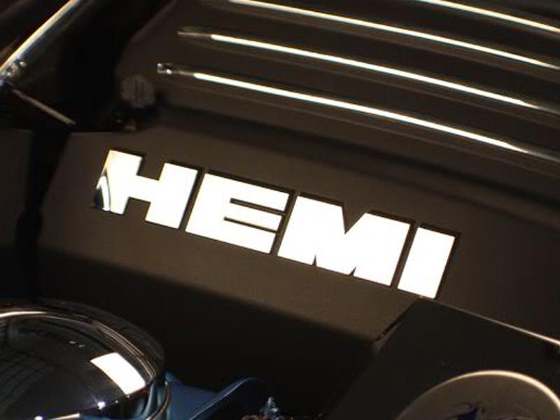 2011-2018 5.7L Engine Shroud Polished HEMI Letter Set for Dodge Charger/Magnum/300 8Pc American Car Craft