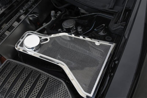 2011-2018 Dodge Charger - Carbon Fiber Water Tank Trim Plate | Stainless Steel/Carbon Fiber