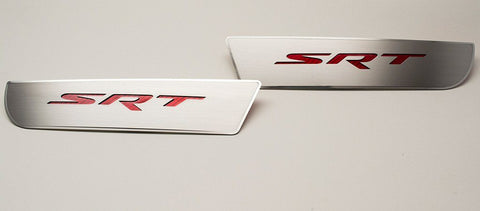 2011-2018 Dodge Charger - SRT Front Door Badges | Brushed Stainless w/Polished Trim
