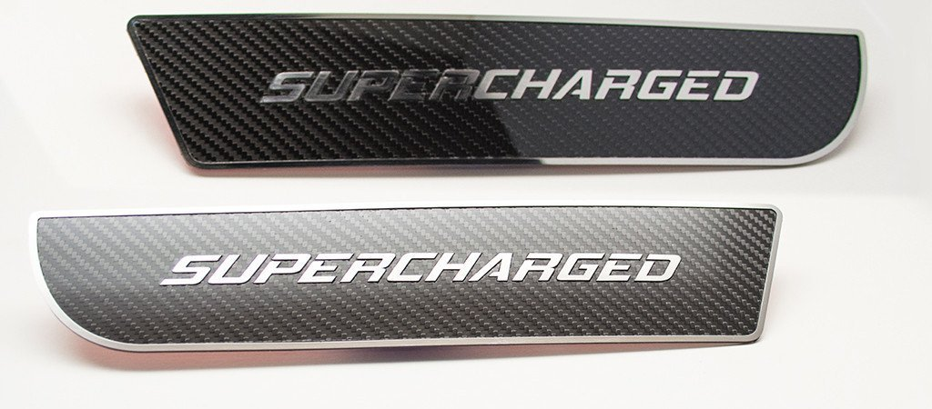 "2011-2018 Dodge Charger - ""SUPERCHARGED"" Carbon Fiber Front Door Badges American Car Craft"