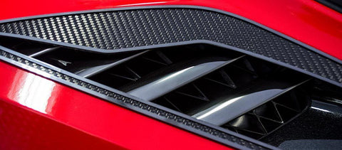 2014-2017 C7 Corvette Stingray - 2pc Carbon/Fiber Glass w/Stainless Steel Trim Rear Quarter Vent Set American Car Craft