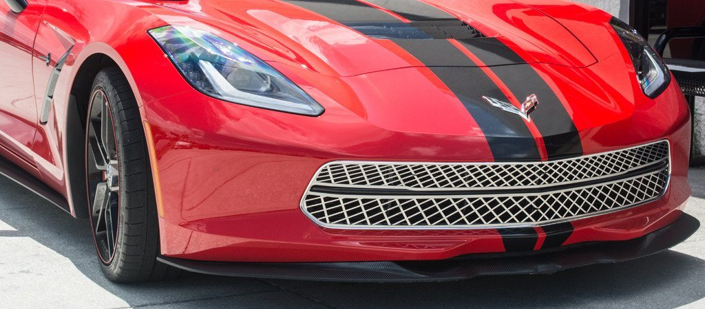 2014-2017 C7 Corvette Stingray - 3Pc Polished Front Grille Expanded Diamond Pattern w/Brushed Trim American Car Craft