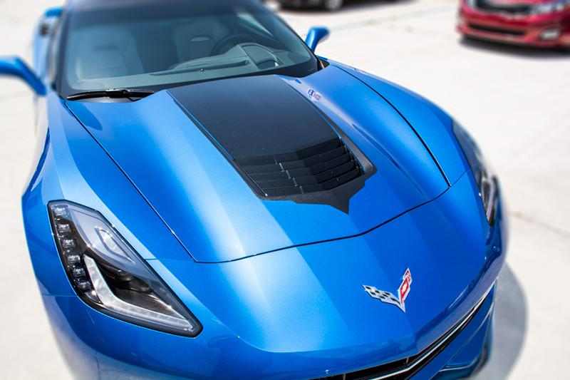 2014-2017 Corvette Stingray C7 - Hood Vent Graphic Black Carbon Fiber with Brushed Black Trim American Car Craft