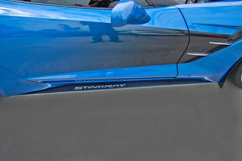 "2014-2017 Corvette Stingray - Carbon Fiber Side Skirts with Stainless Steel ""Stingray"" Lettering American Car Craft"