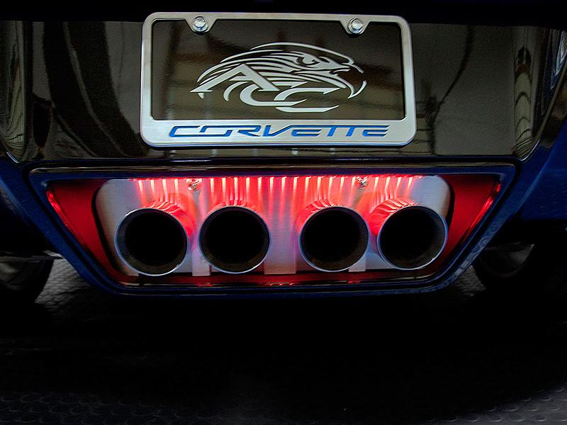 2014-2018 C7 Corvette Stingray - Brushed Illuminated Exhaust Filler Panel STANDARD Exhaust American Car Craft