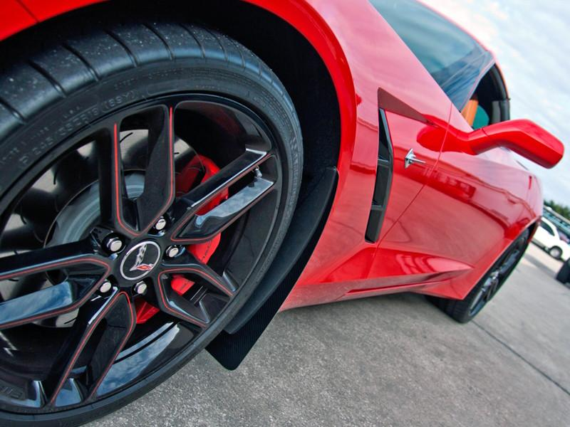 2014-2018 C7 Corvette Stingray - Mud Guards Polished with Carbon Fiber BACKING American Car Craft