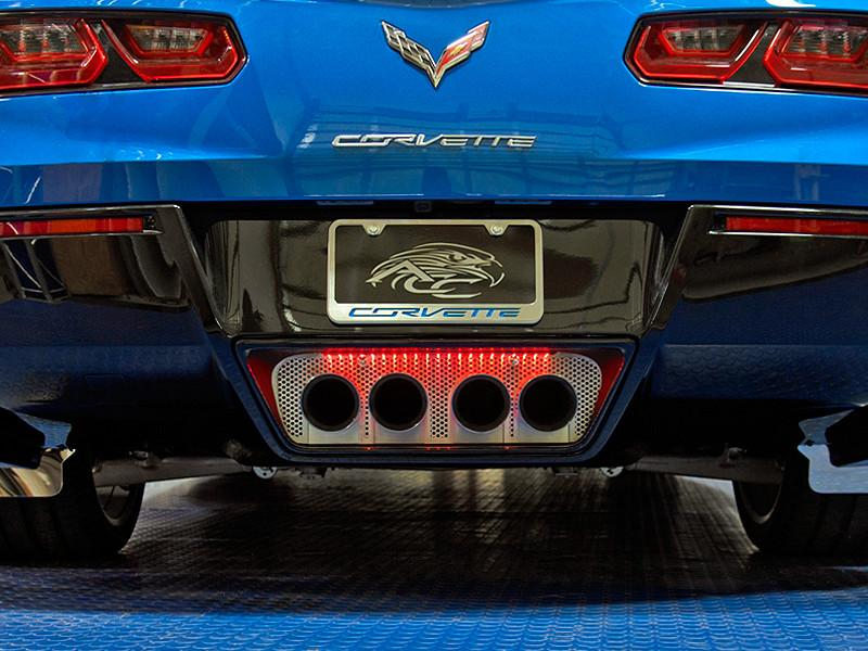 2014-2018 C7 Corvette Stingray - Perforated Illuminated Exhaust Filler Panel STANDARD Exhaust American Car Craft