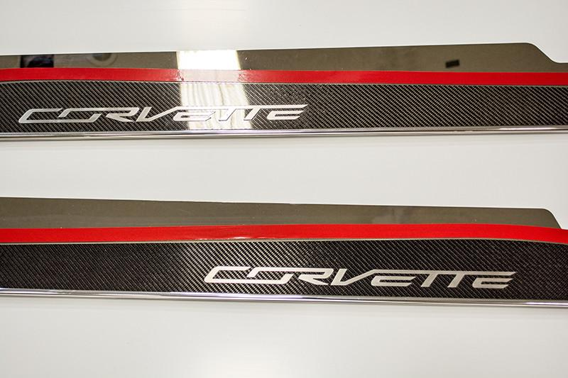 2014-2018 Corvette C7 Stingray/Z51- Side Skirts 22 Gauge Stainless Steel With Carbon/Fiberglass Overlay American Car Craft