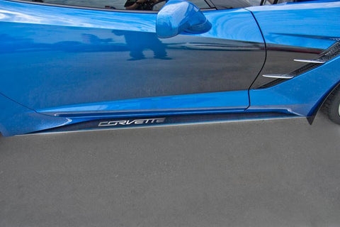 2014-2019 Corvette C7 Stingray/Z51- Side Skirts | 22 Gauge Stainless Steel With Carbon/Fiberglass Overlay