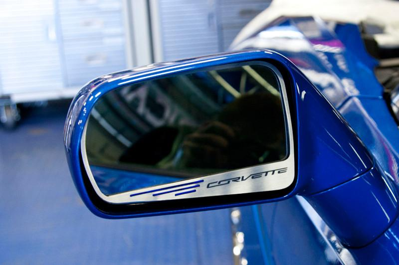 2014-2018 Corvette Stingray C7 - Side View Mirror Trim with Corvette Lettering 2Pc American Car Craft