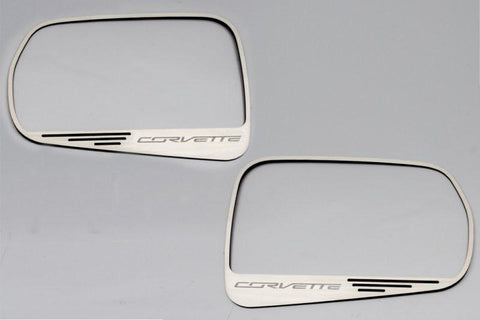 2014-2019 Corvette Stingray C7 - Side View Mirror Trim with Corvette Lettering 2Pc