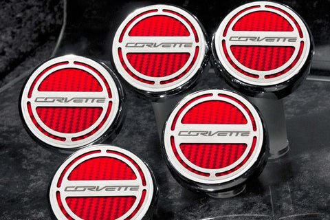 "2014-2019 Automatic Z06/Z51/C7 Corvette Stingray - Fluid Cap Cover 5Pc Set With ""Corvette"" Lettering American Car Craft"
