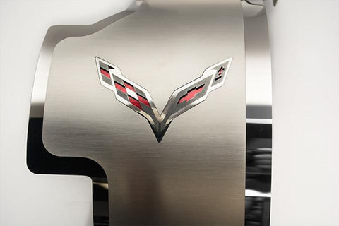 2014-2019 C7 Corvette - Alternator Cover Crossed Flags Emblem | Stainless Steel, CHOOSE COLOR