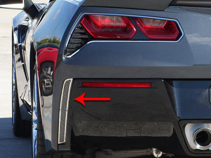 2014-2019 C7 Corvette Stingray - 2Pc Polished Matrix Series Alumi-Steel Rear Valance Vent Grilles American Car Craft