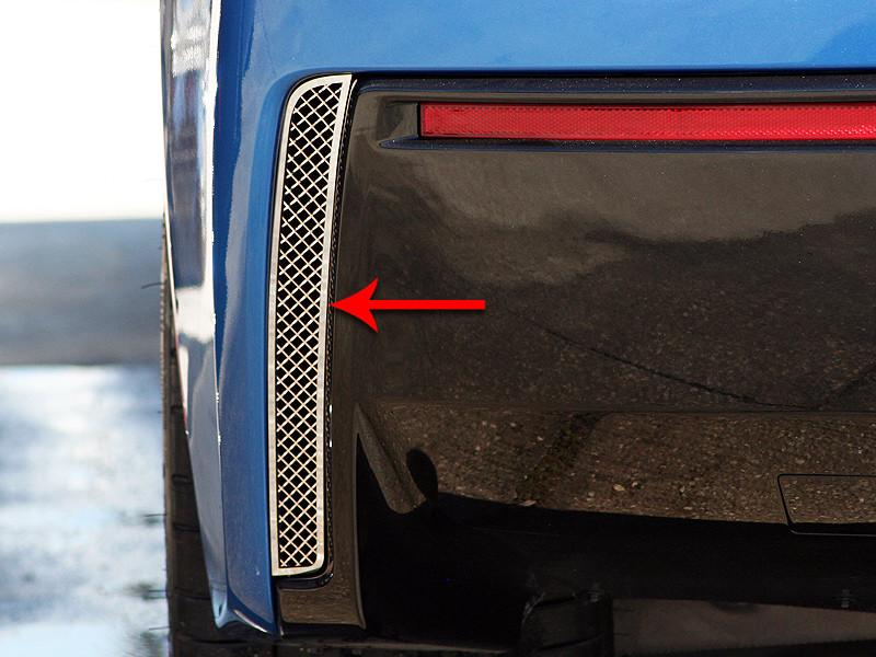 2014-2019 C7 Corvette Stingray - 2pc Polished Rear Valance Laser Mesh Vent Grilles American Car Craft