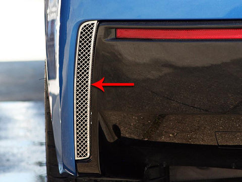 2014-2019 C7 Corvette Stingray - Rear Valance Laser Mesh Vent Grilles 2Pc | Stainless Steel, Choose Finish