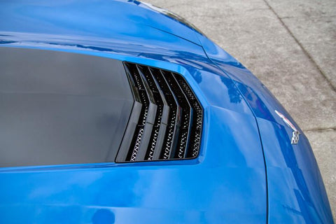 2014-2019 C7 Corvette Stingray - Polished Hood Vent Grille Laser Mesh American Car Craft