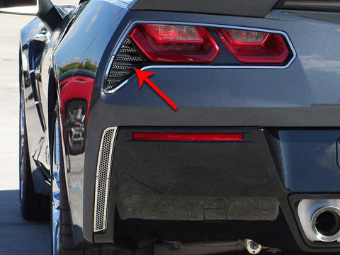 2014-2019 C7 Z06/Grand Sport - 2Pc Polished Matrix Series Alumi-Steel Tail Light Grilles