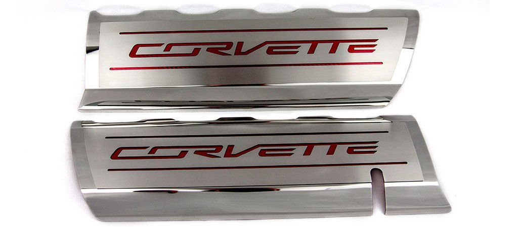 2014-2019 C7/Z51 Corvette - CORVETTE Style Fuel Rail Covers Factory Overlay 2Pc | Stainless Steel, Choose Color American Car Craft