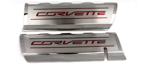 2014-2019 C7/Z51 Corvette - CORVETTE Style Fuel Rail Covers Factory Overlay 2Pc | Stainless Steel, Choose Color