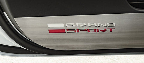 2014-2019 Corvette Grand Sport - Door Guards with GRAND SPORT Lettering 2Pc | Stainless Steel