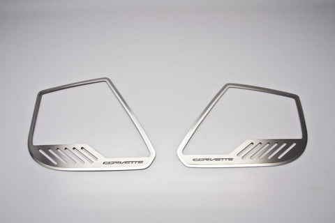 "2014-2019 Corvette Stingray - Car Door Speaker Trim Rings ""Corvette"" Style 4Pc 