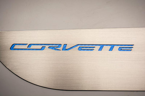 2014-2019 Corvette Stingray - Door Guards with Corvette Lettering 2Pc | Choose Color Inlay