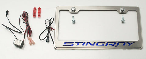 2014-2019 Corvette - License Plate Frame w/ STINGRAY Lettering  | Choose Vinyl or LED Color